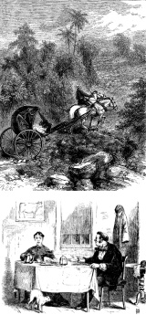 "5. Two woodcut illustrations from 1870. Top: Illustration to ""The Cave of Bellmar"" by F.F. Cavada, Harper's New Monthly Magazine, November 1870, p. 826. Bottom: Illustration to ""Jeremy Train--His Drive"" by An Old Fellow, Scribner's Monthly, November 1870, p. 4. (Neither item in NBMAA show.)"