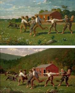3. Two versions of Snap the Whip by Winslow Homer. Oil on canvas. Both were painted in 1872. The top painting is in the collection of the Metropolitan Museum of Art, New York; the bottom work is owned by the Butler Institute of American Art, Youngstown, Ohio. (Neither of these canvases is part of the New Britain exhibition.)