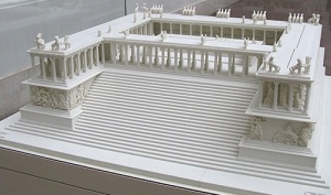 2. Scale model of the Great Altar (from Pergamon Museum) showing the Gigantomachy frieze on bottom level and continuing up the stairs, the stoa with statues on three sides of the altar plaza and statues on the roof of the stoa.