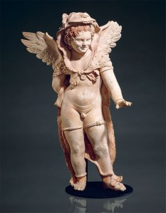 Statuette of Eros Wearing Lion Skin of Herakles. Terracotta. 1st century B.C.E. Museum of Fine Arts, Boston, Massachusetts. Discovered in Myrina, Asia Minor.