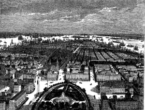 "6. New-York—Bird's Eye View from Union Square."" Woodcut. Illustration for ""New-York Daguerreotped,"" Vol. 1, No. 2 (February 1853), between pp. 122-123. (not in NBMAA show.)"