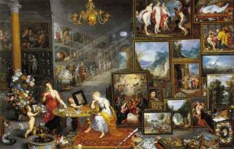 4. Sight and Smell by Jan Brueghel the Elder, Frans Francken II, Hendrik van Balen, Jan Brueghel the Younger, and others. Oil on canvas. ca. 1618-23. Prado, Madrid.