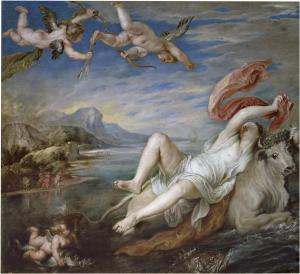 9. Rape of Europa by Petter Paul Rubens (copy of †itian). Oil on canvas. ca. 1628-29. Prado, Madrid.