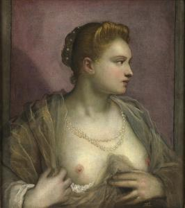 7. Lady Revealing Her Breast by Tintoretto. Oil on canvas. ca 1580–90. Prado, Madrid.