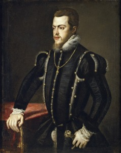 2. Philip II by Titian (Tiziano Vecelli). Oil on canvas. 1549-50. Prado, Madrid.