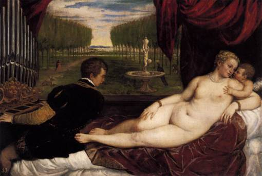 6. Venus with Organist and Cupid by Titian. Oil on canvas. ca. 1550-55. Prado, Madrid.