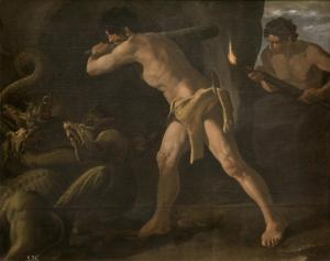 16. Hercules and the Hydra by Francisco de Zurbarán. Oil on canvas. 1634-35. Prado, Madrid.