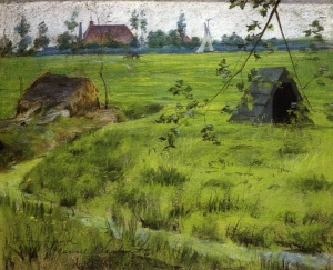 19. A Bit of Holland MNeadows (A Bit of Green in Holland). Pastel on paper. 1883. Parrish Art Museum.
