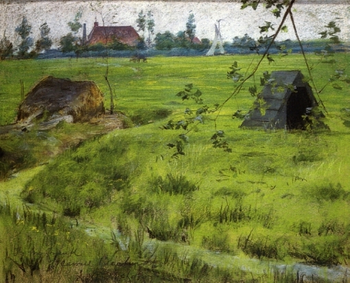 20. A Bit of Holland MNeadows (A Bit of Green in Holland). Pastel on paper. 1883. Parrish Art Museum.