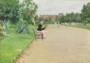 23. A City Park. Oil on canbas. ca. 1887. Art Institute of Chicago, Chicago, Illinois.