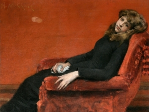 10. An Idle Moment (also At Her Ease or Study of a Young Girl.). Oil on canvas. ca. 1884. National Academy of Design, New York City.