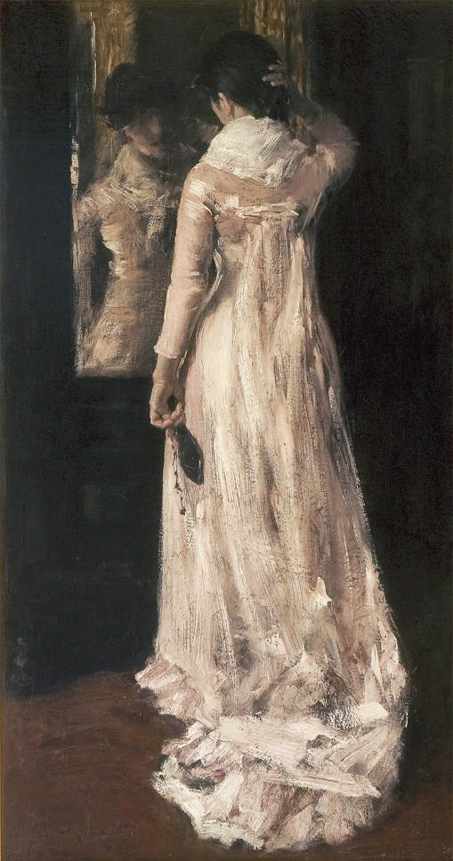 16. I Think I am Ready Now (The Mirror, The Pink Dress). Oil on canvas. ca. 1883. Private collection.