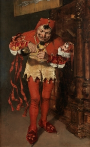 "4. ""Keying Up""--The Court Jester. Oil on canvas. 1875. Pennsylvania Academy of Fine Arts. Philadelphia, Pennsylvania."