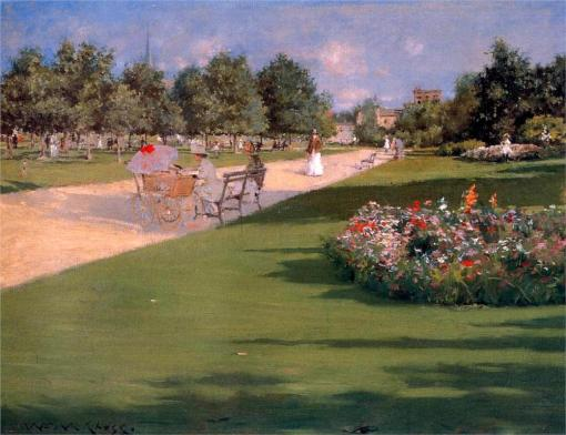 24. Thompkins Park, Brooklyn. Oil on canvas. 1887. Colby College Museum of Art, Waterville, Maine.
