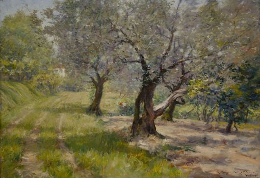 35. The Olive Grove. Oil on composition board. ca 1911. Terra Foundation for American Art, Chicago.